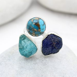 Apatite, Opal And Azurite Gemstone Adjustable Sterling Silver Ring