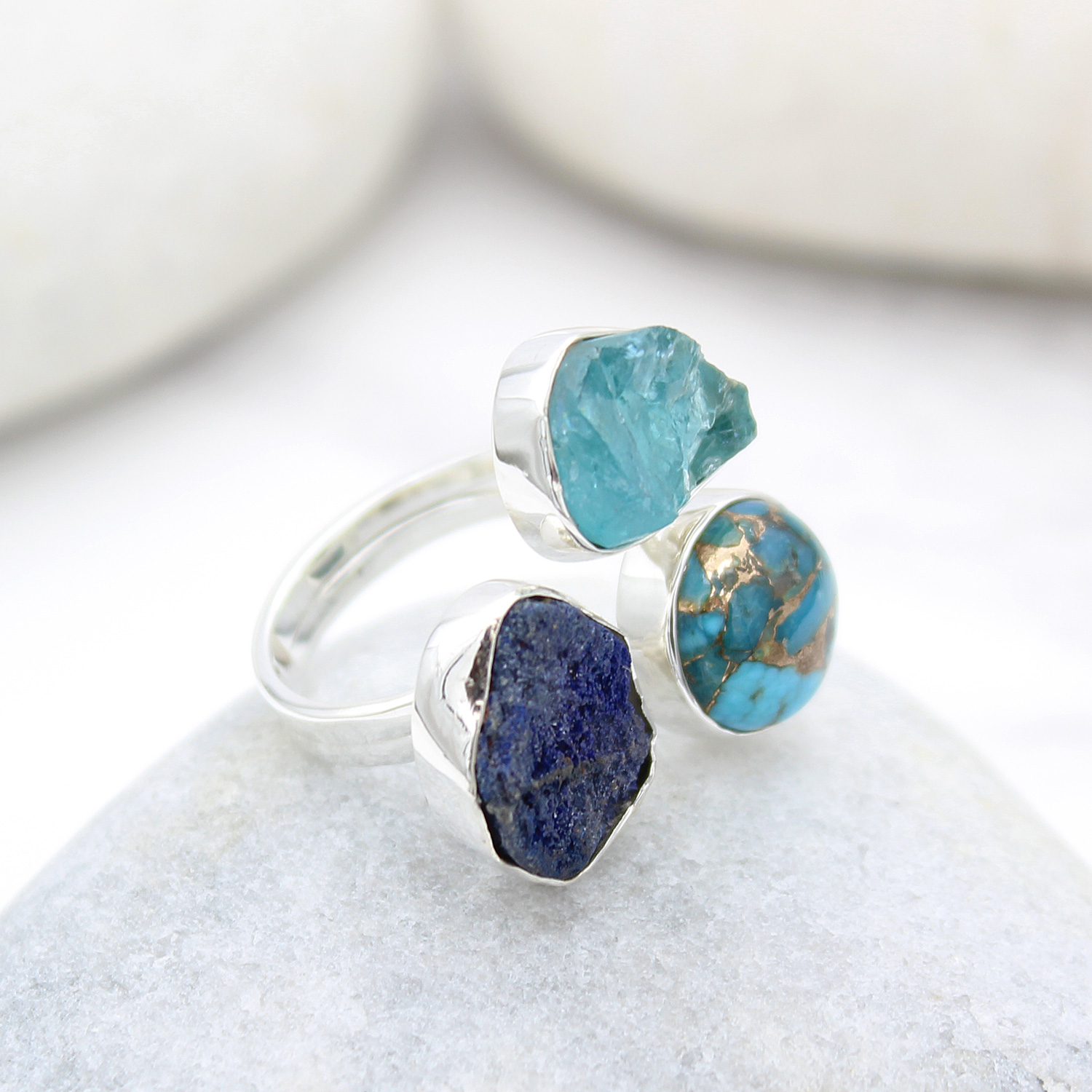 Apatite Turquoise And Azurite Gemstone Adjustable