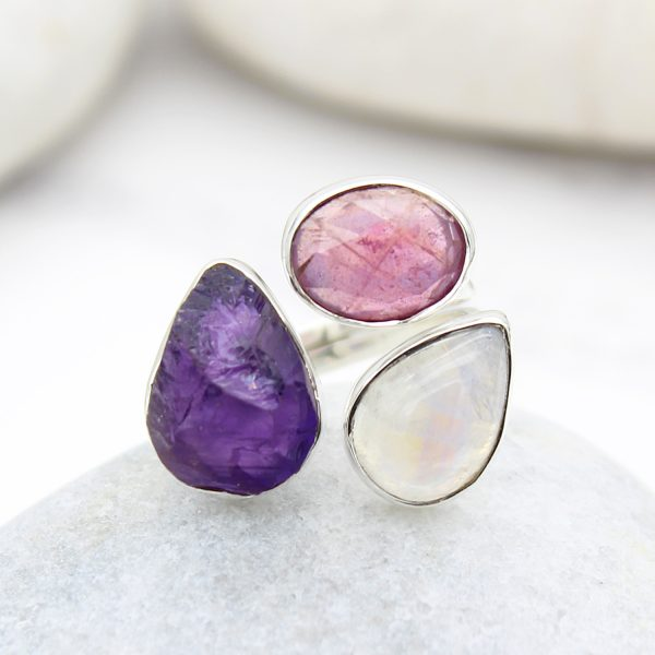 Ruby, Moonstone And Amethyst Gemstone Adjustable Sterling Silver Ring
