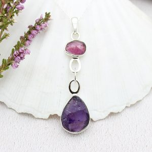 Ruby & Amethyst Gemstone Sterling Silver Pendant