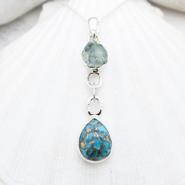 Aquamarine And Blue Copper Turquoise Gemstone Sterling Silver Pendant