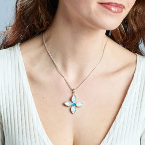 Handmade Aquamarine & Apatite Gemstone Flower Ladies Pendant