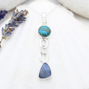 Opal And Blue Copper Turquoise Gemstone Sterling Silver Pendant