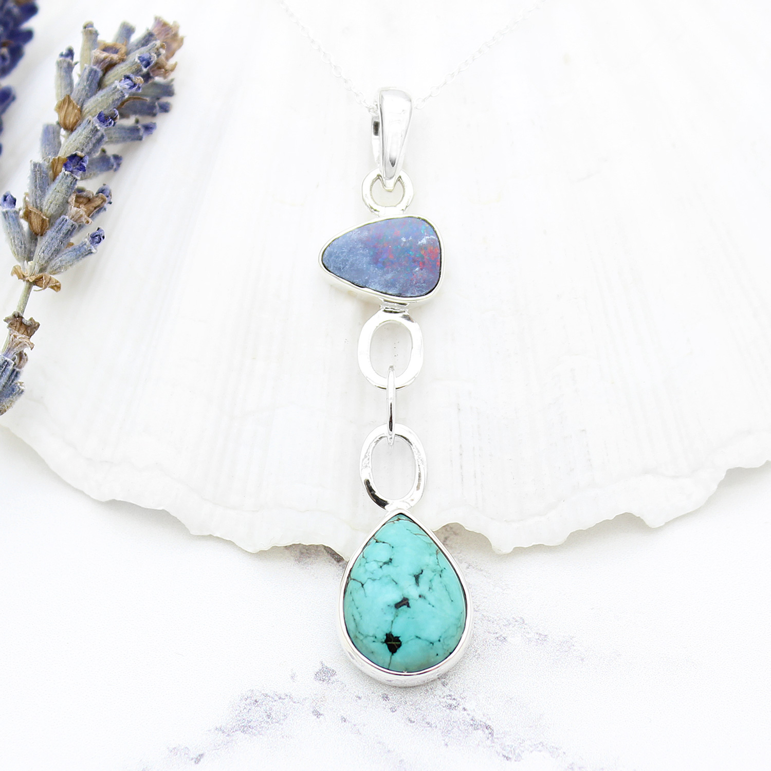 Blue Opal And Tibetan Turquoise Gemstone Sterling Silver Pendant