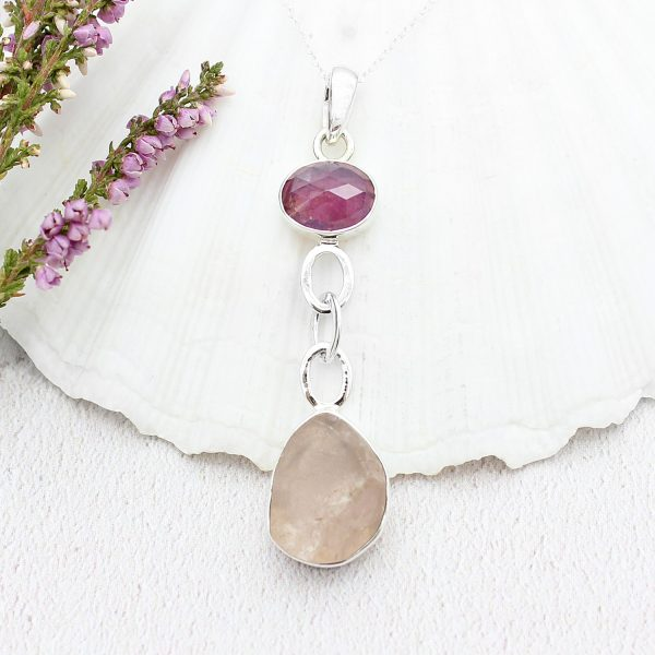 Ruby & Rose Quartz Gemstone Sterling Silver Pendant