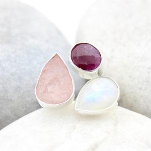 Ruby, Moonstone And Rose Quartz Gemstone Adjustable Sterling Silver Ring