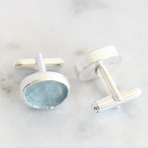 Aquamarine Gemstone Handmade Sterling Silver Cufflinks