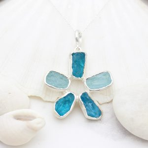 Aquamarine and Neon Apatite Gemstone Flower Ladies Pendant