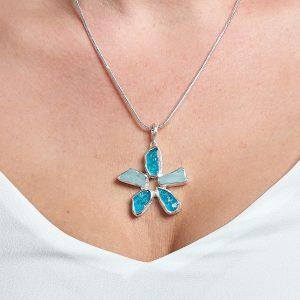 Aquamarine and Neon Apatite Gemstone Flower Ladies Pendant