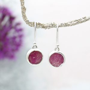 Ruby Gemstone Handmade Sterling Silver Ladies Earrings