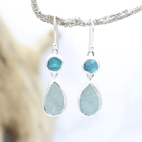 Aquamarine & Apatite Gemstone Sterling Silver Ladies Earrings