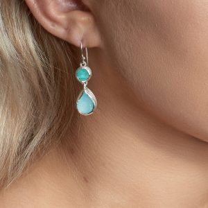 Aquamarine & Apatite Gemstone Sterling Silver Ladies Earrings