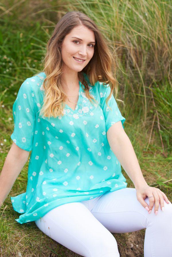 Aquamarine Poppy Flower Embroidered Silk Tunic Dress Short