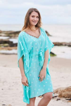Aquamarine Hand Tie Dyed Silk Bandhani Kaftan