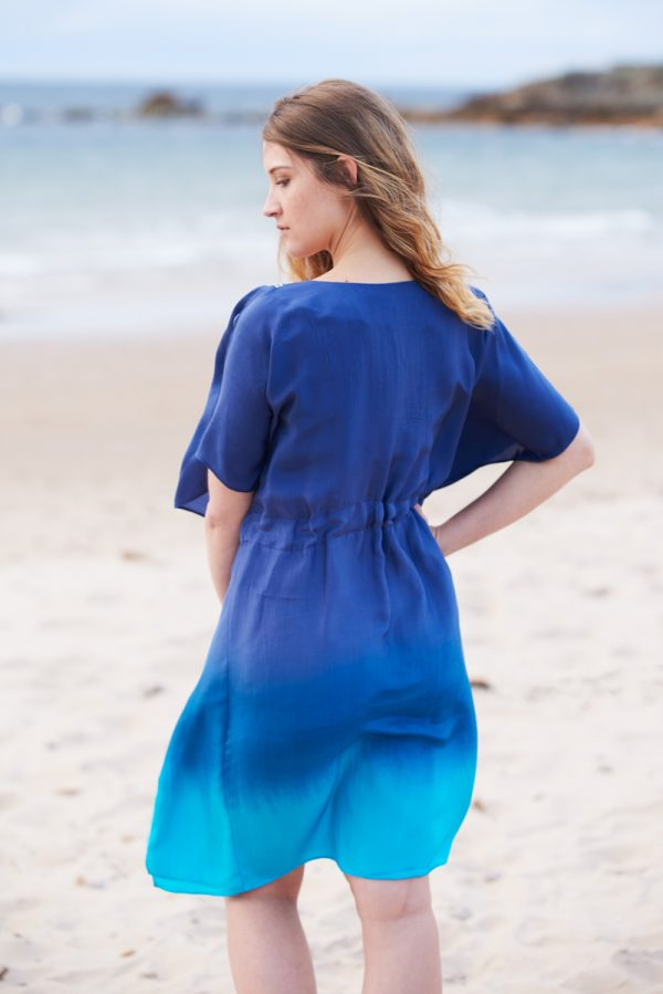 Ocean Blue Ombre Hand Dyed Poppy Embroidered Silk Kaftan