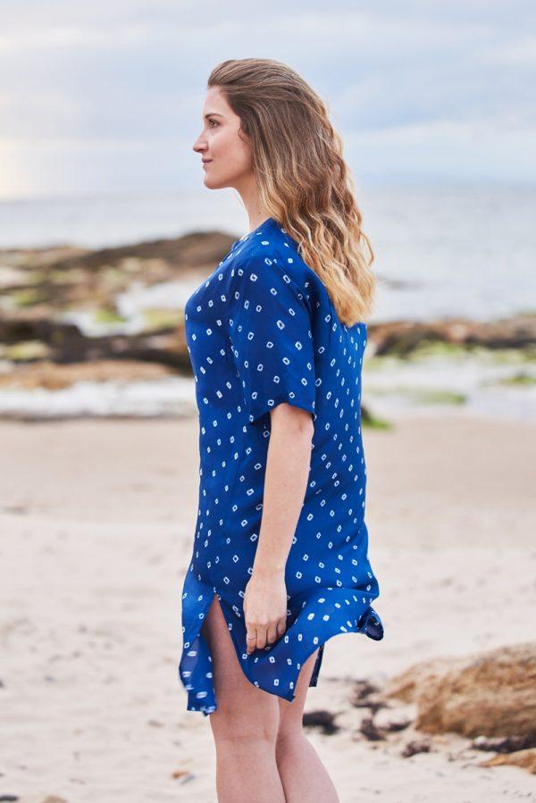 Deep Blue Hand Tie Dyed Silk Shirt Dress