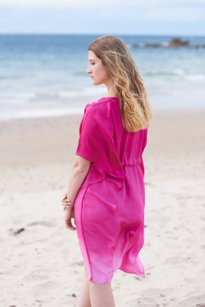 Hot Pink Ombre Hand Dyed Poppy Embroidered Silk Kaftan