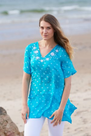 Turquoise Poppy Flower Embroidered Silk Tunic Dress Short