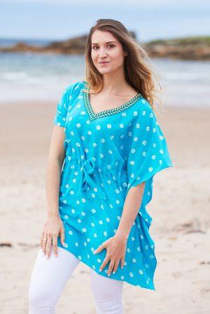 Turquoise Hand Tie Dyed Silk Bandhani Kaftan