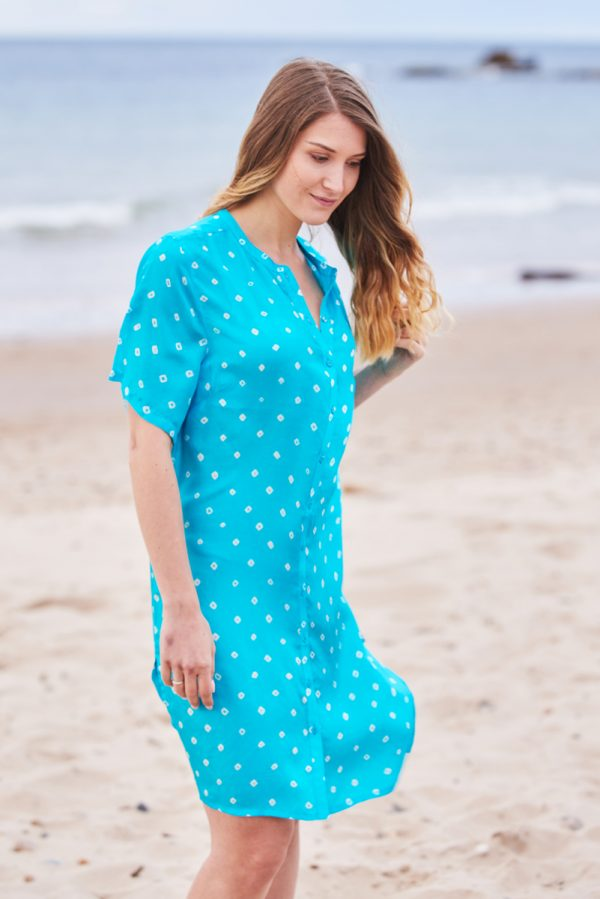 Turquoise Blue Hand Tie Dyed Silk Shirt Dress