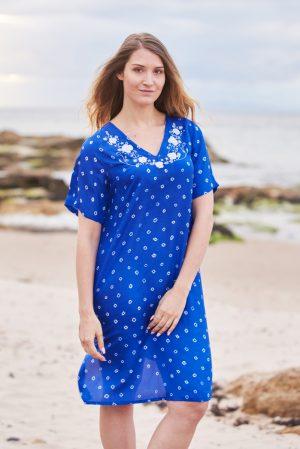 Bright Blue Poppy Flower Embroidered Silk Tunic Dress Midi