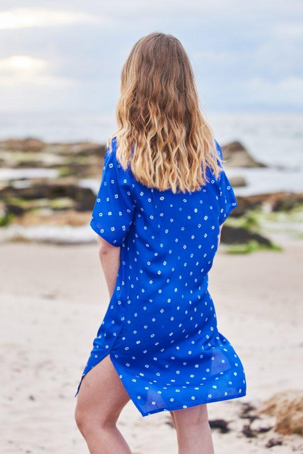 Bright Blue Hand Tie Dyed Silk Shirt Dress