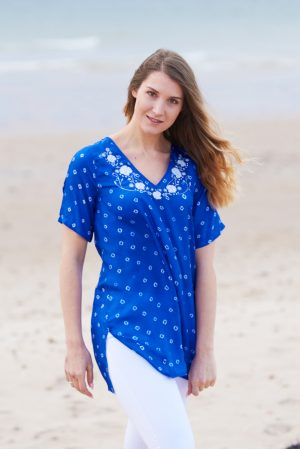 Bright Blue Poppy Flower Embroidered Silk Tunic Dress Short