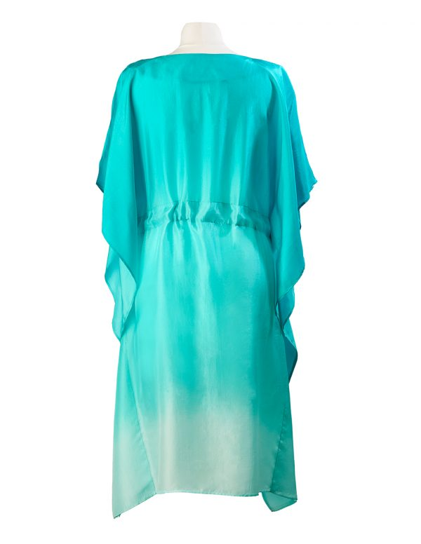 Jade Green Ombre Hand Dyed Poppy Embroidered Silk Kaftan