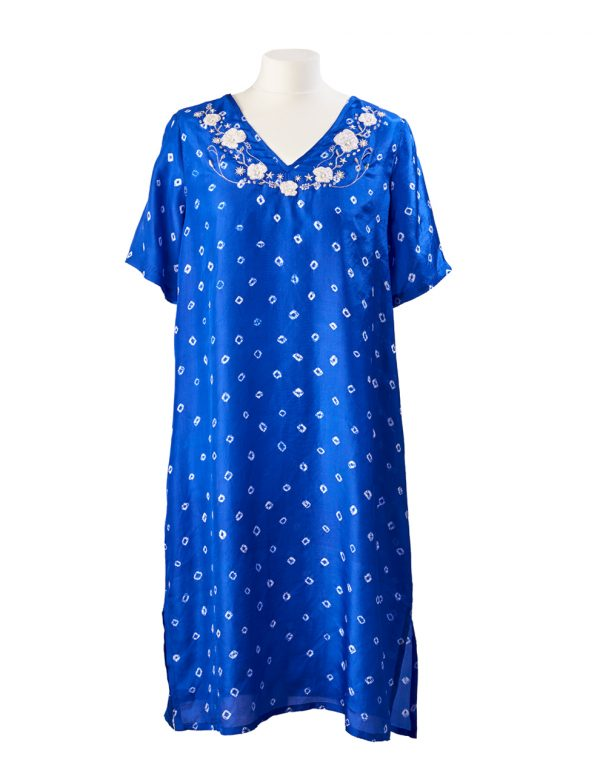 Bright Blue Poppy Flower Embroidered Silk Tunic Dress Midi