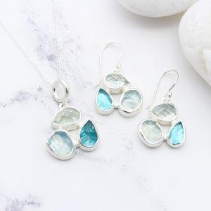 Aquamarine & Apatite Gemstone Sterling Silver Pendant and Earrings Set
