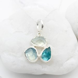 Aquamarine & Apatite Gemstone Sterling Silver Ladies Petal Pendant