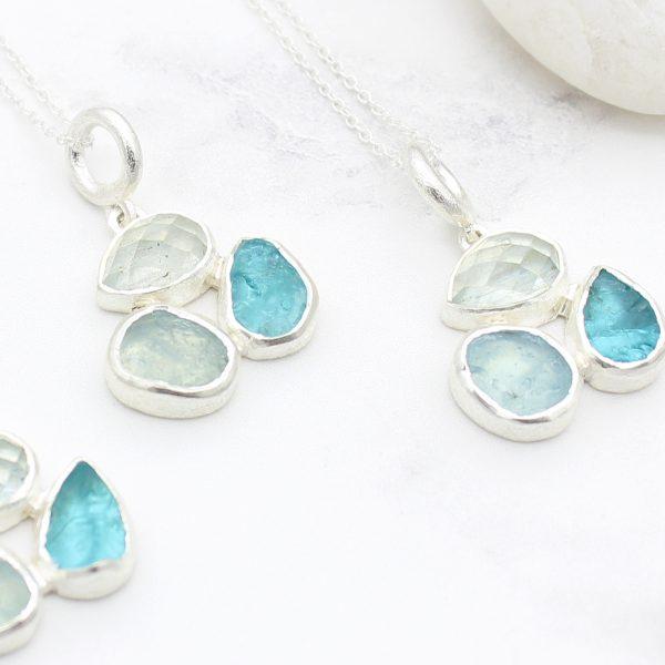 Aquamarine & Apatite Gemstone Sterling Silver Ladies Petal Pendant