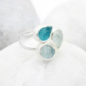 Aquamarine and Apatite Gemstone Adjustable Sterling Silver Ring