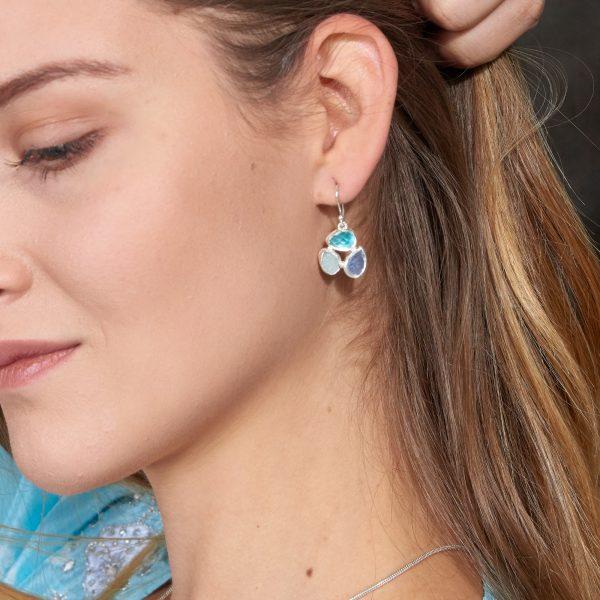 Aquamarine, Apatite & Moonstone Gemstone Sterling Silver Ladies Petal Earrings