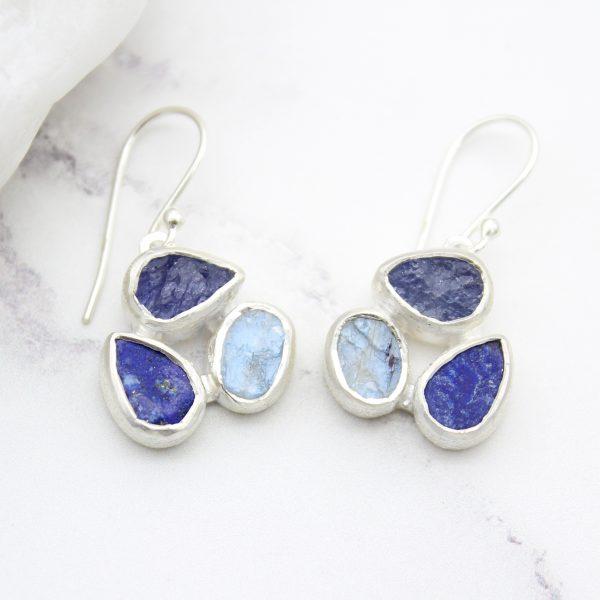 Tanzanite, Moonstone & Lapis Lazuli Gemstone Sterling Silver Earrings