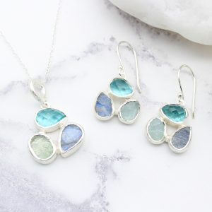 Aquamarine, Apatite & Moonstone Gemstone Sterling Silver Pendant and Earrings Set