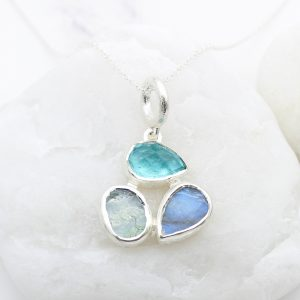 Aquamarine, Apatite & Moonstone Gemstone Sterling Silver Ladies Petal Pendant