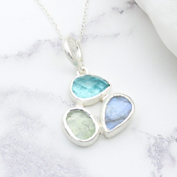 Aquamarine, Apatite & Moonstone Gemstone Sterling Silver Ladies Petal Pendant
