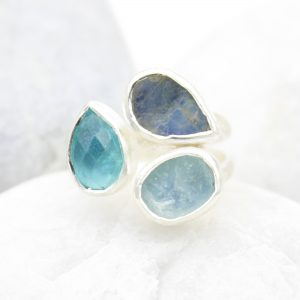 Aquamarine, Apatite & Moonstone Gemstone Adjustable Sterling Silver Ring