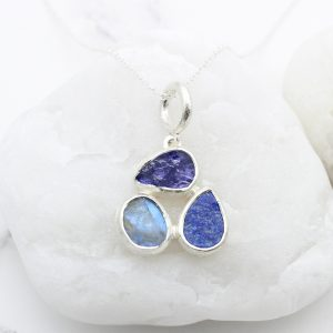 Tanzanite, Moonstone & Lapis Lazuli Gemstone Sterling Silver Ladies Petal Pendant