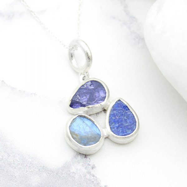 Tanzanite, Moonstone & Lapis Lazuli Gemstone Sterling Silver Pendant