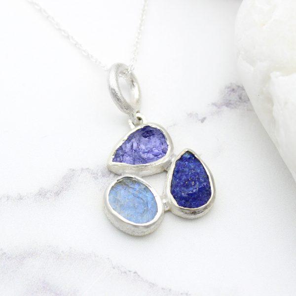 Tanzanite, Moonstone & Lapis Lazuli Gemstone Sterling Silver Ladies Petal Pendant