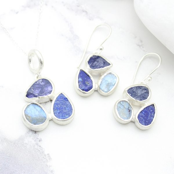Tanzanite, Moonstone & Lapis Lazuli Gemstone Sterling Silver Pendant and Earrings Set