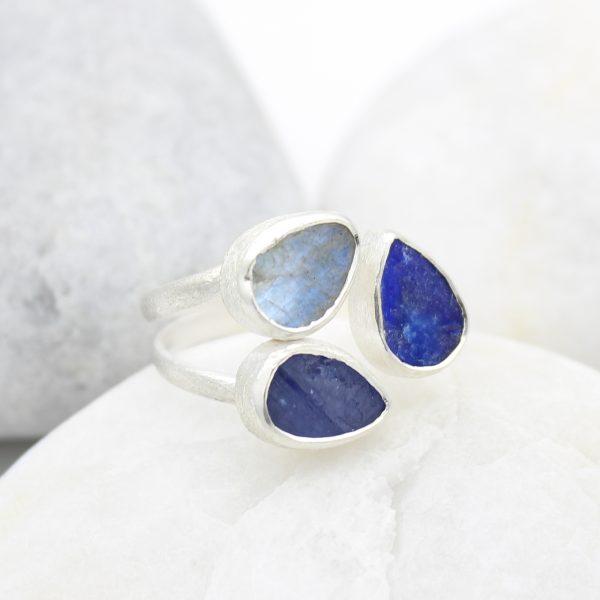 Tanzanite, Lapis Lazuli & Moonstone Gemstone Adjustable Sterling Silver Ring
