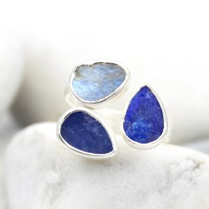 Tanzanite, Lapis Lazuli & Moonstone Gemstone Adjustable Sterling Silver Ring
