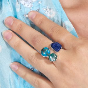 Apatite, Turquoise And Azurite Gemstone Adjustable Sterling Silver Ring