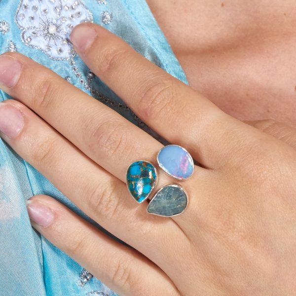 Aquamarine, Opal And Turquoise Gemstone Adjustable Sterling Silver Ring