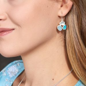 Aquamarine & Apatite Gemstone Sterling Silver Ladies Petal Earrings