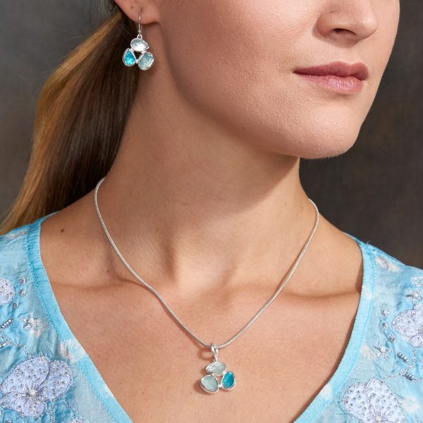 Aquamarine & Apatite Gemstone Sterling Silver Pendant and Earrings Set