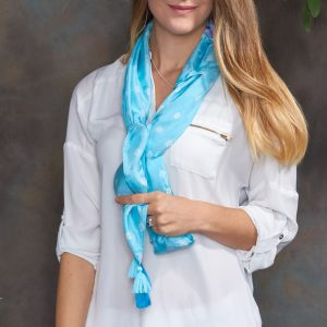 Aquamarine Luxury Silk Hand Tie Dyed Scarf